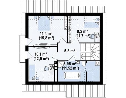 Проект дома PB-009 9.78x8.48m 105,0 / 120,4 м² , 2 этажa