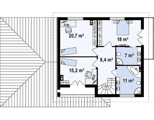 Проект дома PB-012 18.68x10.68m 172,0 / 225,7 м² , 2 этажa