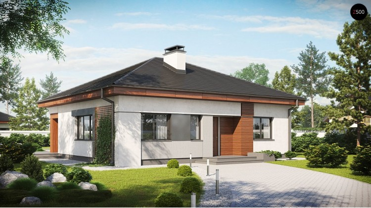 Проект дома PB-015 12.14x10.49m 93,6 м² , 1 этаж
