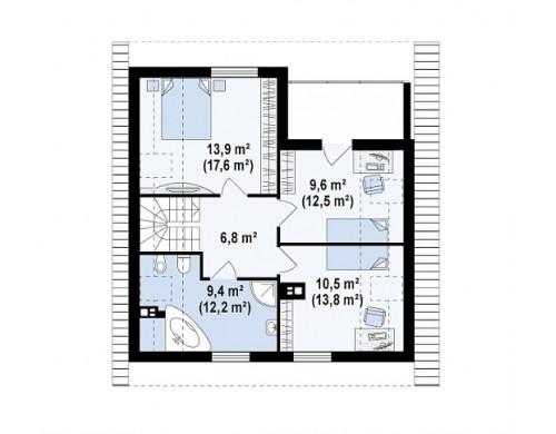 Проект дома PB-016 9.48x9.78m 117,5 / 130,2 м² , 2 этажа