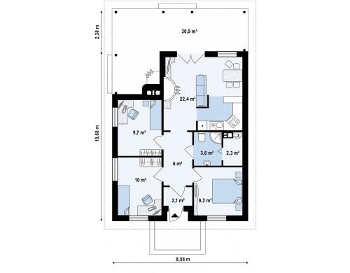 Проект дома PB-018 8.58x10.68m 65,4 м² , 1 этаж