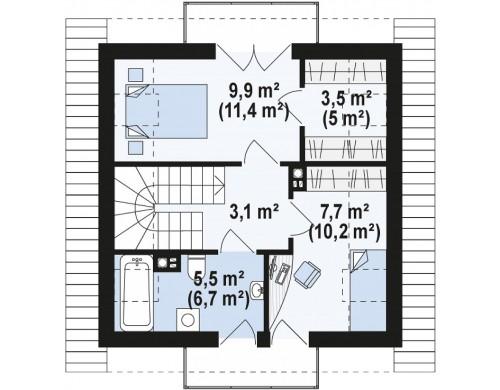 Проект дома PB-019 7.44x7.44m 71,1 / 77,9 м² , 2 этажа
